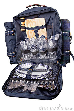 Backpack with dinner set for picnic