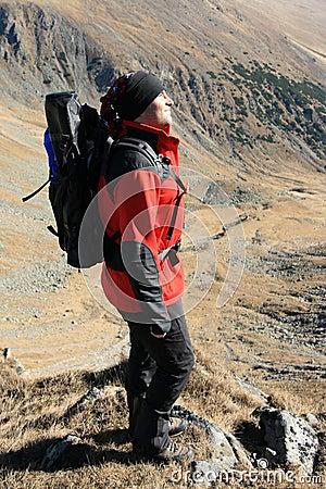 Backpack man profile