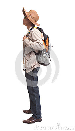 Backpacker in acting on white background