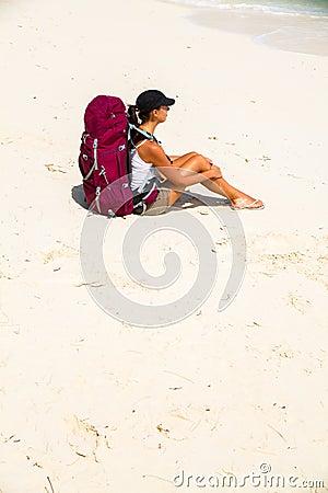 Backpacker on beach