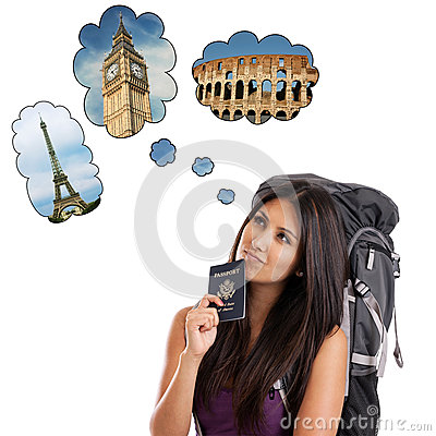 Free Backpacker Dreaming Of European Trip Royalty Free Stock Image - 25598606