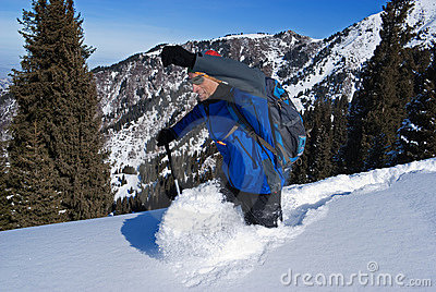 Backpacker goes deep in snow