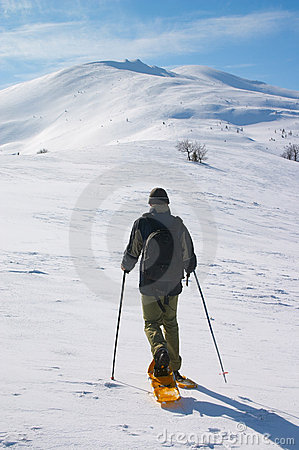 Free Backpacker Going To Snow Mountain Stock Photography - 4071752