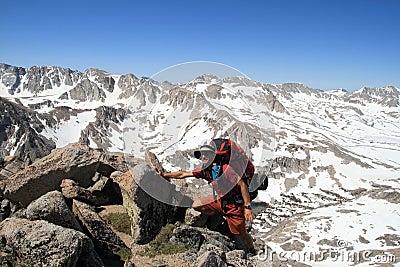 Backpacker near summit