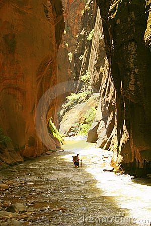 Backpacker in Zion Narrows