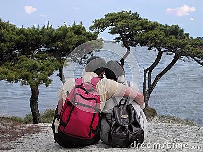 Backpackers couple