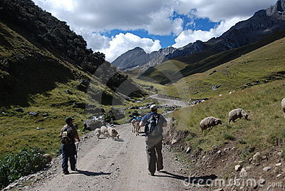 Backpackers walking in the mountains Editorial Stock Photo