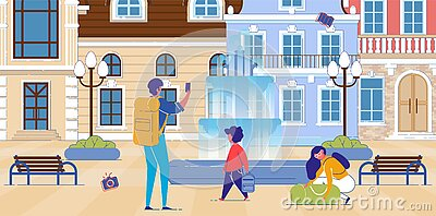 Backpacking Family Taking Photos Historical Sights Vector Illustration