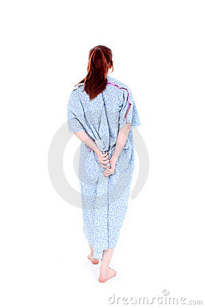Free Backside Of Woman Holding Hospital Gown Closed Stock Photo - 151000