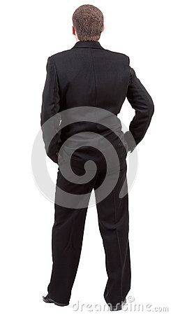 Backside view of person. Back view of businessman looks ahead.