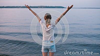 BackView van de Jonge Avond van de Dameraising hands celebrating Nice Zomer dichtbij Meer stock video