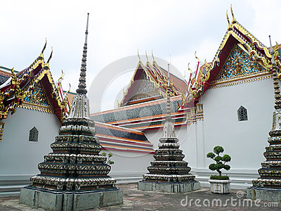 Backyard of Buddha temple in Bangkok