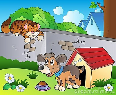 Backyard with cartoon cat and dog