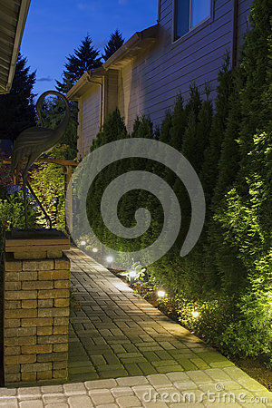 Free Backyard Garden Path At Night Stock Photo - 25663660