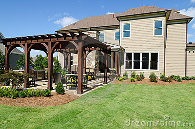 Backyard with pergola