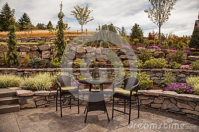 Modern Stone terraced luxury yard