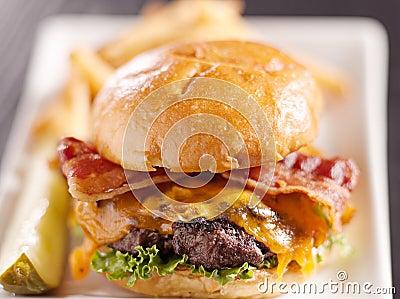 Bacon cheeseburger with extreme selective focus