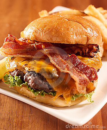 Bacon cheeseburger served openfaced