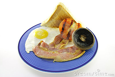 Bacon and Egg Breakfast on a Blue Plate