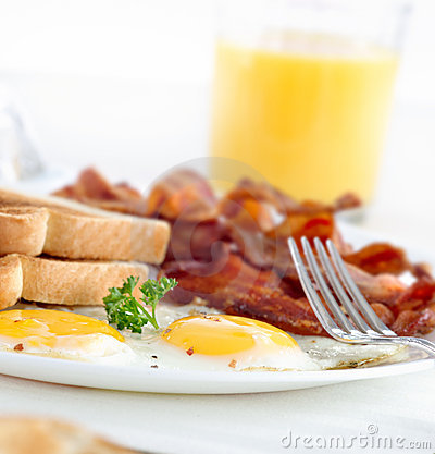 Free Bacon, Eggs And Toast Breakfast Stock Photography - 16979722