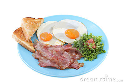 Bacon and eggs breakfast isolated