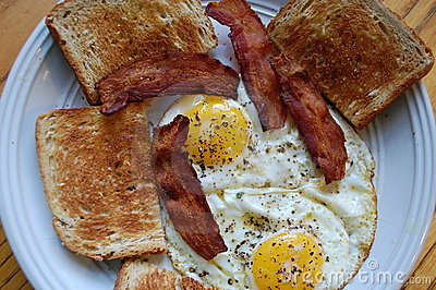 Bacon Eggs and Toast Breakfast