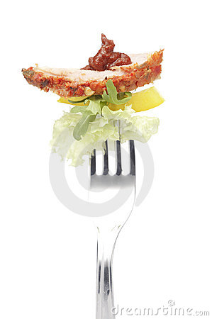 A bacon on fork
