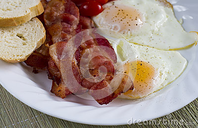 Bacon and fried eggs