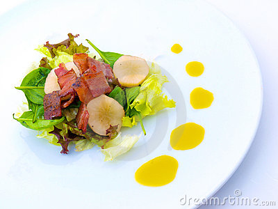 Bacon Gourmet Salad on White Plate