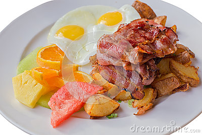 Bacon, Ham, Potato, Fruit, Egg Breakfast