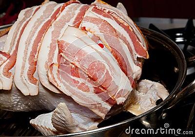 Bacon laid on turkey for roasting