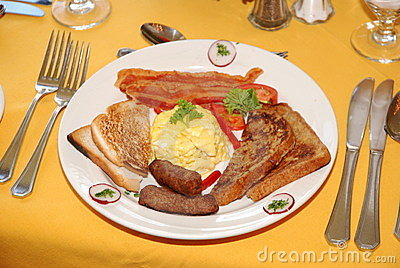 Bacon, Scrambled Eggs, Sausage, Toast - Breakfast