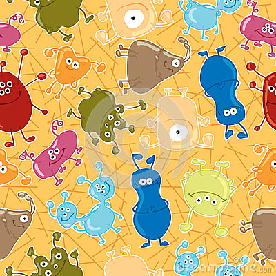Bacteria. Seamless vector pattern. Medicine