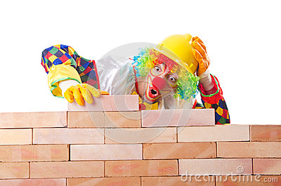 Bad construction concept with clown
