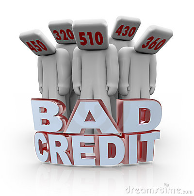 Bad Credit Scores - People with Number Heads