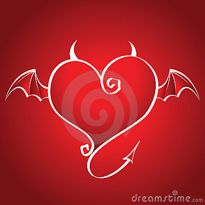 Bad heart with wings and horns flies on a red back