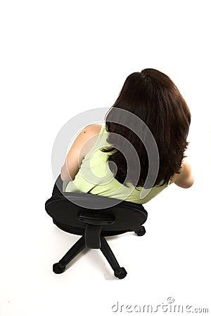 Bad posture of girl sitting