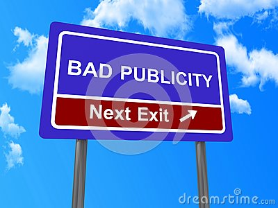 Bad publicity next exit sign