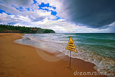 Bad weather on the beach