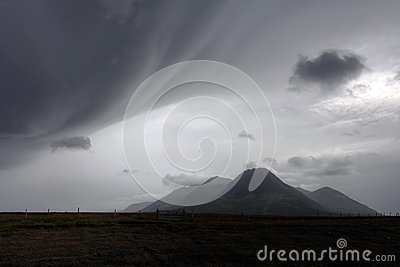 Bad weather over landscape in Iceland