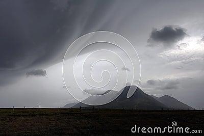 Bad weather over landscape in Iceland