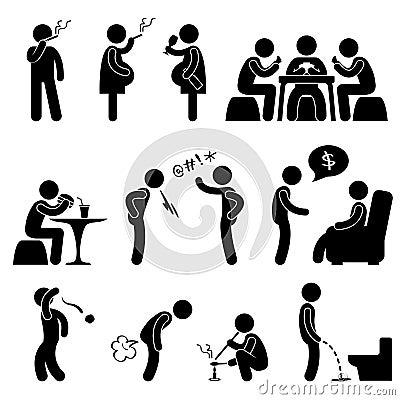 Free Bad Wrong Behaviour Habit Lifestyle Pictogram Stock Photos - 22355123