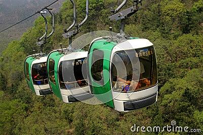 Badaling, China: Great Wall Cable Cars Editorial Image