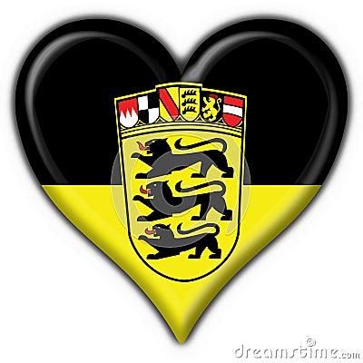Baden Württemberg button flag heart shape