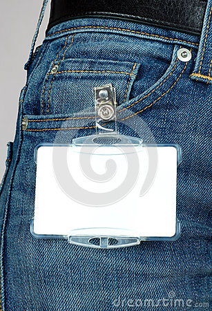 Badge attached to jeans,