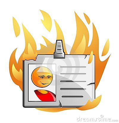 Badge in flame