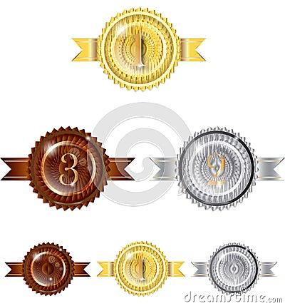 123 Badge Winner Gold Silver Bronze