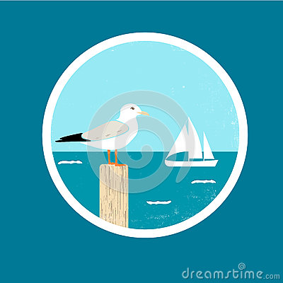 Free Badge With Seagull And Ship Royalty Free Stock Image - 88087756