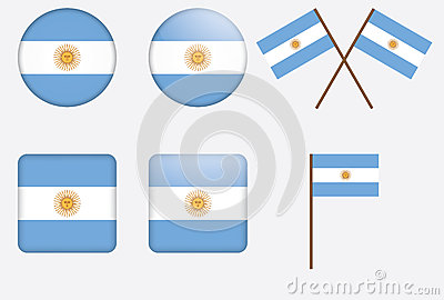 Badges with flag of Argentina