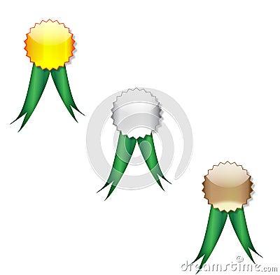 Badges green ribbon